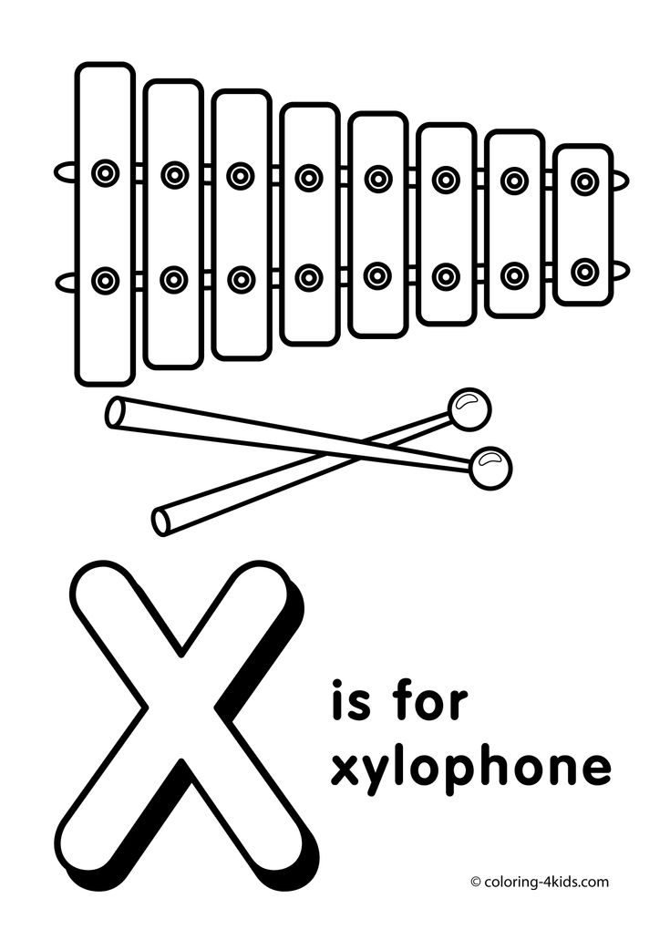 Letter X coloring pages, alphabet coloring pages (X letter