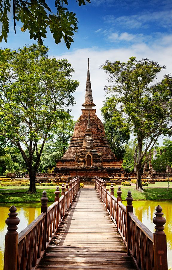 """Sukhothai, which literally means """"Dawn of Happiness"""" with an area of 6,596 km2, is about 427 km north of Bangkok and was founded in 1238. The Sukhothai Historical Park covers the ruins of Sukhothai, capital of the Sukhothai kingdom in the 13th and 14th centuries, in what is now the north of Thailand. It is located near the modern city of Sukhothai, capital of the province with the same name. # thailand #World heritage #bangkoktravel #guiddoo #wanderlust #southeastasia"""