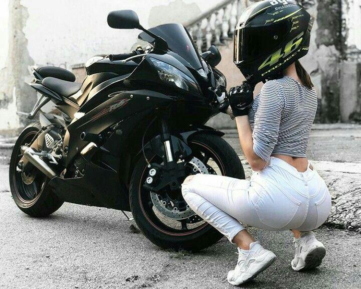 Black Yamaha R6 Motorcycle and biker girl #yamaha #motorcycles #bikers #bikes #b…