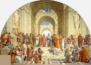 Escuela de Atenas, Diógenes de Sínope apenas sentado en reflexión, distendido