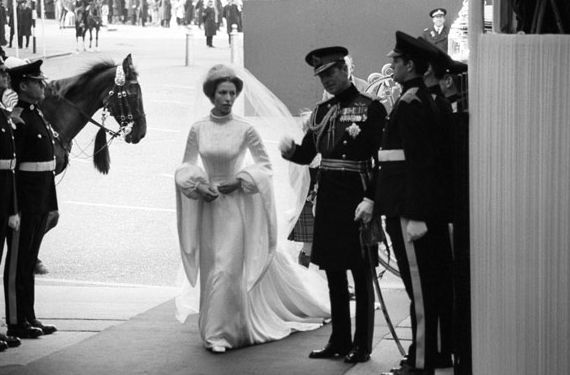 Princess Anne with her father Prince Philip at her first wedding on November 14, 1973.