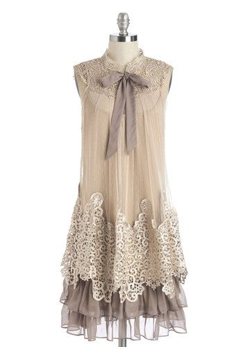 Expression of Elegance Dress in Taupe by Ryu - Mid-length, Cream, Grey, Crochet, Tiered, Tie Neck, Party, Vintage Inspired, 20s, Tent / Trapeze, Sleeveless, Lace, Ruffles, Sheer, Woven, Lace, Variation