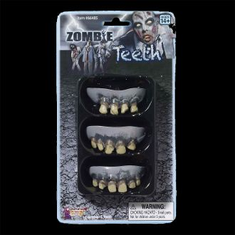 Walking Undead Zombie Halloween Costume ROTTED TEETH Adult Makeup Accessories Prop 3pc. Ghoulish flesh chomping decayed tooth fake monster dentures. Time for zombies to to see the dentist. Disgustingly gross grey brown rotting teeth. Must Eat BRAINS! http://www.horror-hall.com/Zombie-Halloween-Costume-ROTTED-TEETH-Makeup-Accessory-Prop-3-pc-HH-FN-66485.htm