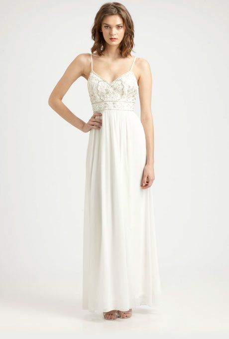 Brides.com: Wedding Dresses We Love For Under $1,000. An empire waist highlights the tiniest part of your body (plus, that gorgeously beaded bodice will keep all eyes up top).  Beaded maxi wedding dress, $450, Sue Wong available at Saks Fifth Avenue  See more Sue Wong wedding dresses.