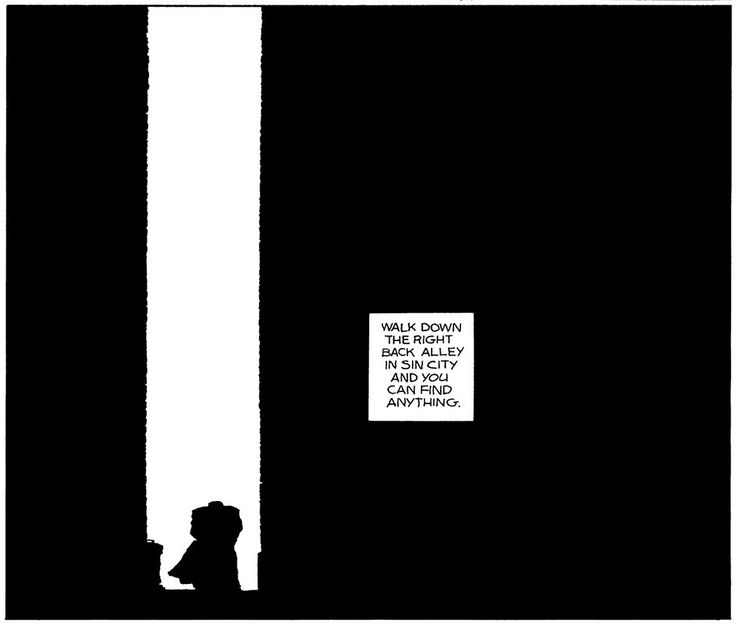 We'll close out with one of the most iconic Sin City images of all. Marv walks alone through a manmade canyon, drawn without the aid of computers, where one's eye can only see light's total absence or undiluted presence.
