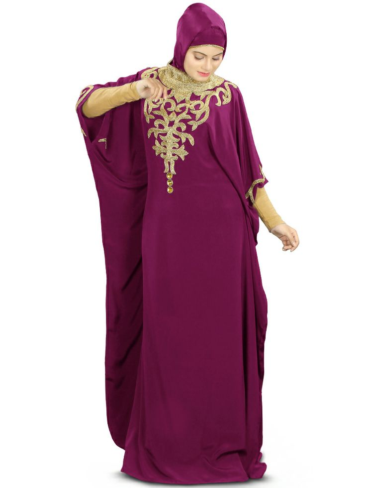 This gorgeous Kaftan will definitely enhance your look with its beautiful Hand embroidery work on neck, the dress is perfect for wedding and special events  Band collar neckline Hand embroidery bead work on front-back neck and sleeves Adjustable belt at waist line Matching jersey sleeves included Soft feel