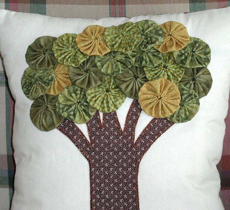Yo Yo Tree Pillow by ecoughlindesigns on Etsy