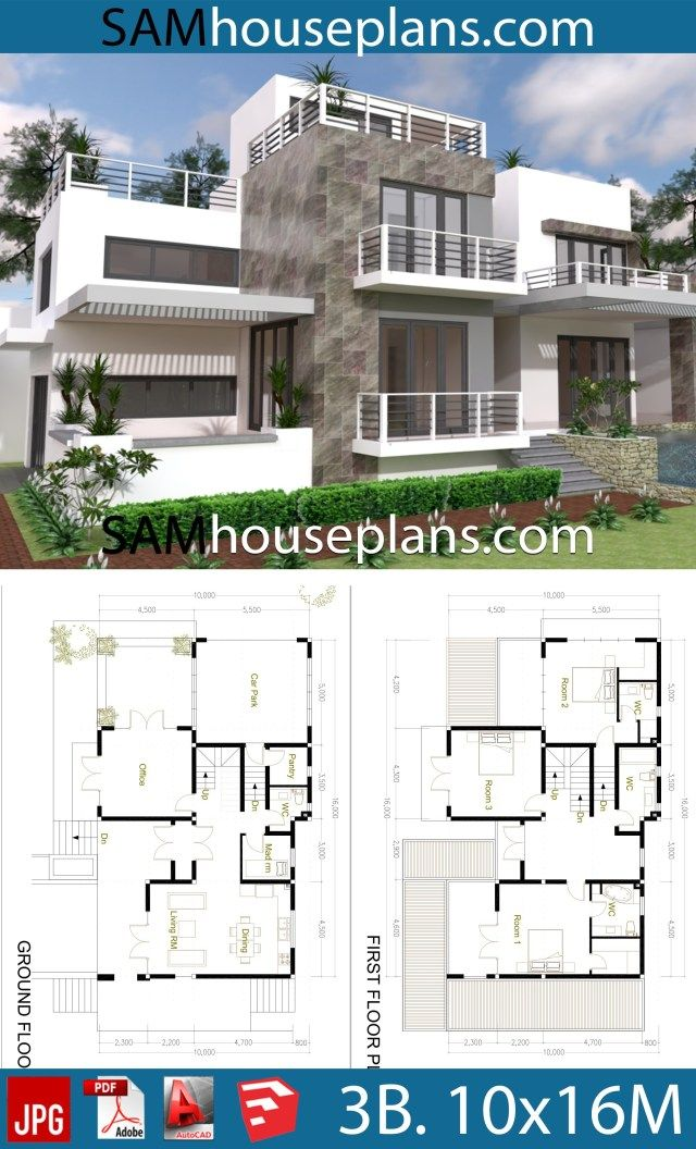 House Plans 10x16 With 3 Bedrooms Sam House Plans House Plans Architectural House Plans Countryside House