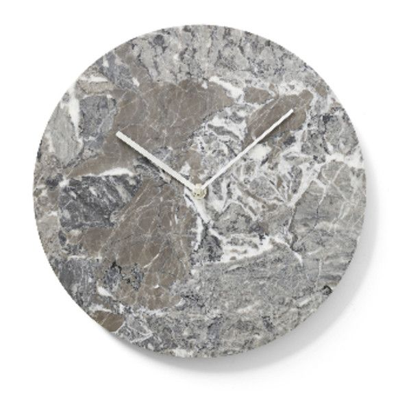 Grey Marble Wall Clock (435 CAD) ❤ liked on Polyvore featuring home, home decor, clocks, gray home decor, grey clock, grey home decor, gray clock and marble home decor