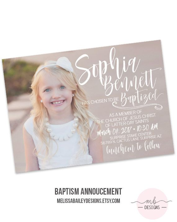 LDS Baptism Announcement Girl Invitation  Missionary