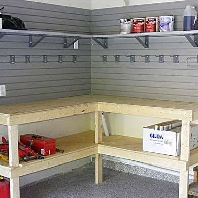 DIY Corner Workbench Creative Corner Utilize the space in your garage or shop efficiently with a corner workbench design. Mounted to the wall, this bench has a lower tier for storage, while additional shelves and hooks keep the necessary tools and materials close at hand.