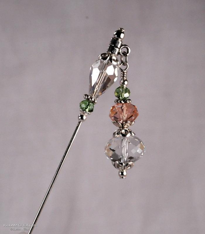 Crystal Stick Pin, 3 Inch Charm Stick Pin, Dangle Hat Pin, Scarf Pin, Hijab Pin KC0287. $6.00, via Etsy.