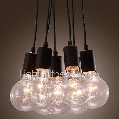 Modern Home 7 Head Edison Bulb Light Loft Glass Ball Living Room Pendant Light Dining Room Light 2017 - €68.69