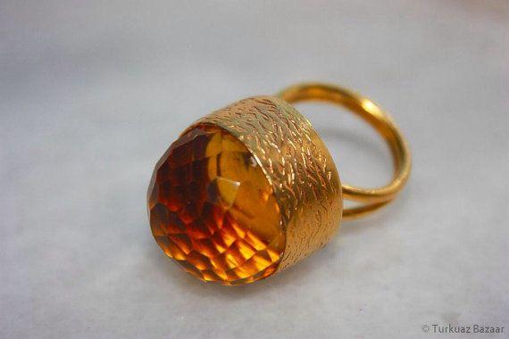 Roxelana Lemon Topaz Stone Ring set in 22k Gold by TurkuazBazaar, $40.00