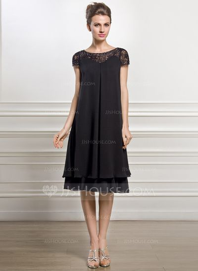 Empire Scoop Neck Knee-Length Chiffon Mother of the Bride Dress With Beading Sequins (008057066) #jjshouse