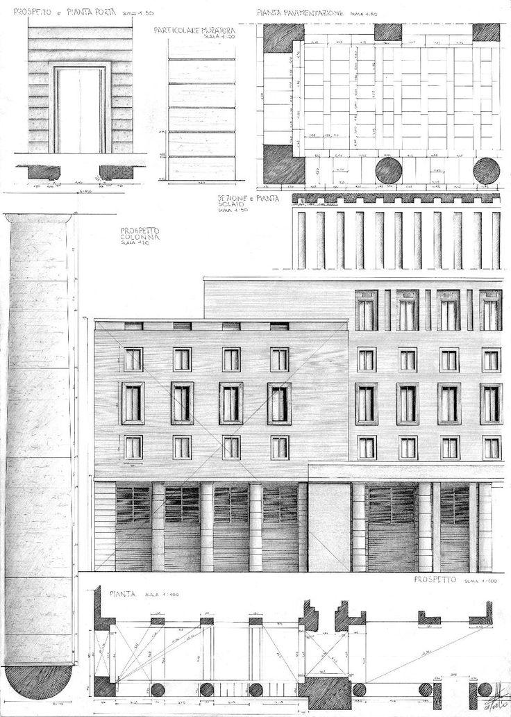 Palazzo Morpurgo - Roma  Rilievo Architettonico - Tavola Extempore - Disegno a…