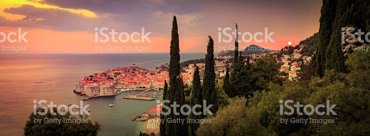 Sunset over Dubrovnik in Croatia royalty-free stock photo