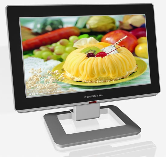 Pandigital's Kitchen Technology Center ($450). The device features a 15.6-inch touchscreen and wireless Internet access so you can    search the Web for a good vegetable lasagna, plus a collection of recipes from Bon Appetit. You can also watch the evening news or a digital slideshow, as the KTC is a 720p high-def TV and digital    photo frame, too