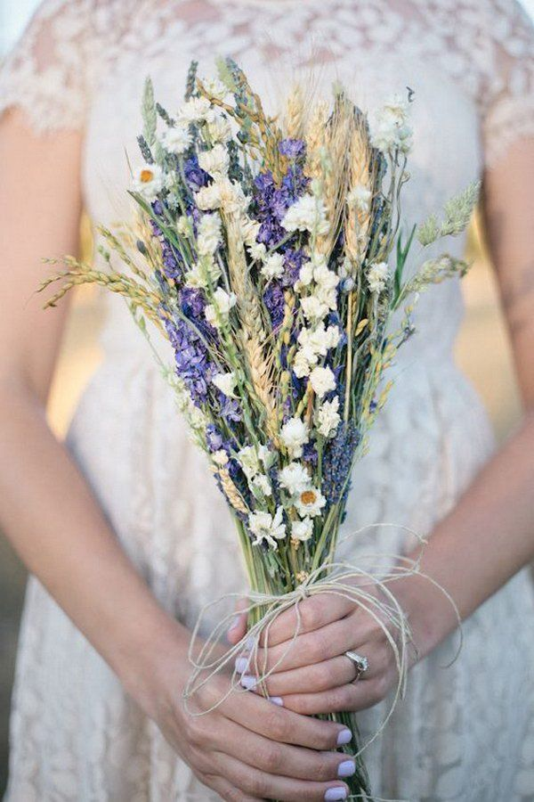 Rustic Lavender Wedding Bouquet Decorated with Wild Flower,  Wheat and Twine