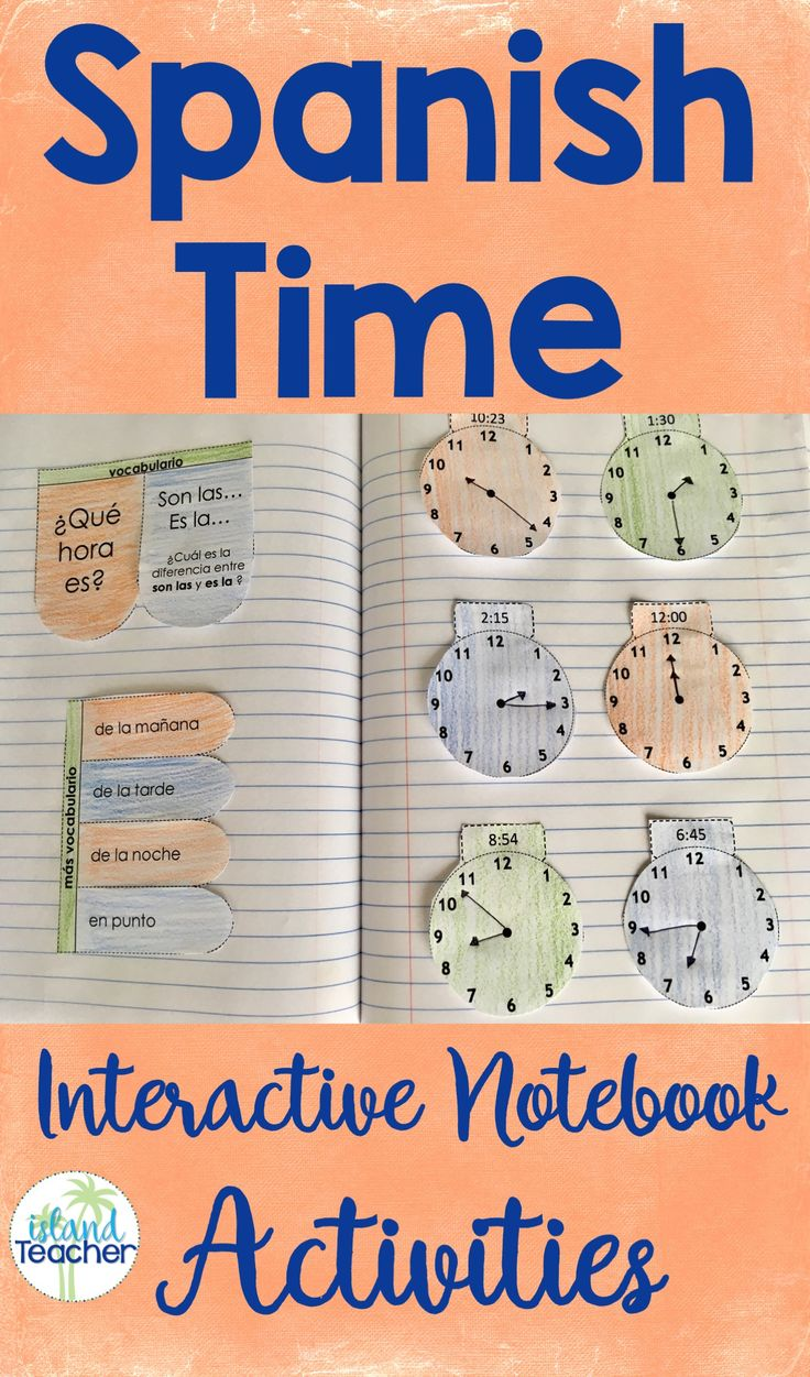 Spanish Interactive Notebook activities: Time