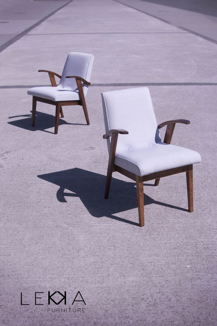Armchairs designed by M.Pachala in 50s in Poland.  Midcentury design after restoration.  Redesigned by LEKKA furiture