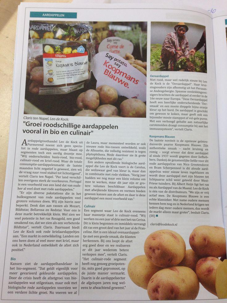 Leuk artikel in het oktober nummer van AGF Primeur over onze aardappelen. Onder andere over roodschillige aardappels, biologische en de Koopmans Blauwe. #agf #aardappelen #culinair #biologisch #koopmansblauwe #roodschillig #primeur #agfprimeur