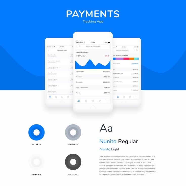 Payments Tracking App Free UI Kit for Sketch