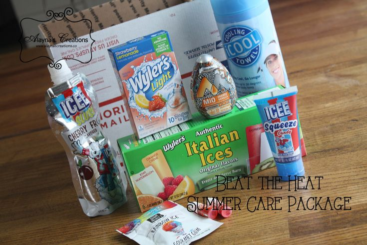 Beat the Heat Summer Care Package Idea  A box full of items to help your loved one stay cool while on military deployment - or off at college or just for any old reason this summer.