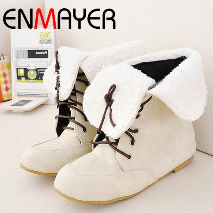 17.98$  Watch now - http://aligfa.shopchina.info/go.php?t=701328389 - ENMAYER New Style Faux Flats Lace UP  Snow Ankle Boots for Women boots Shoes for women Western Boots 17.98$ #magazineonlinebeautiful