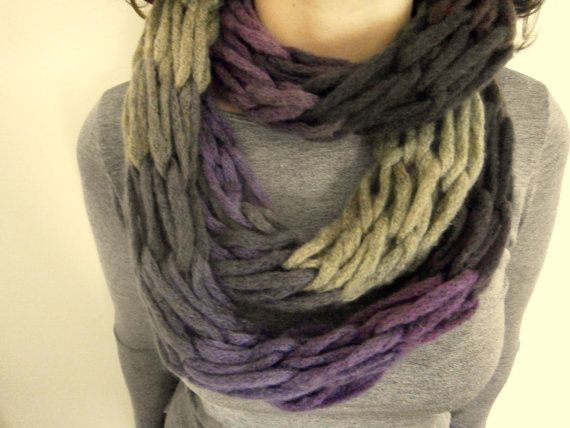 purple arm knitted scarf/ infinity scarf/ by KleopatrasCreations