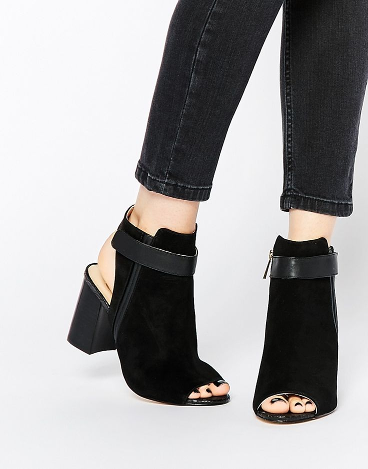 Yes I'll peep into these! xoxo River Island Suede Peep Toe Block Heeled Boots via ASOS!