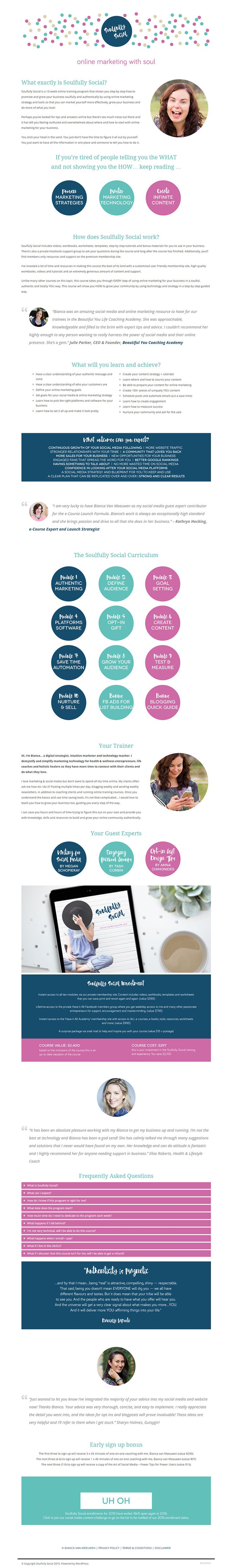 Sales page design for online marketing training program. Using Jacqueline Theme from Bluchic. Visit soulfullysocial.com