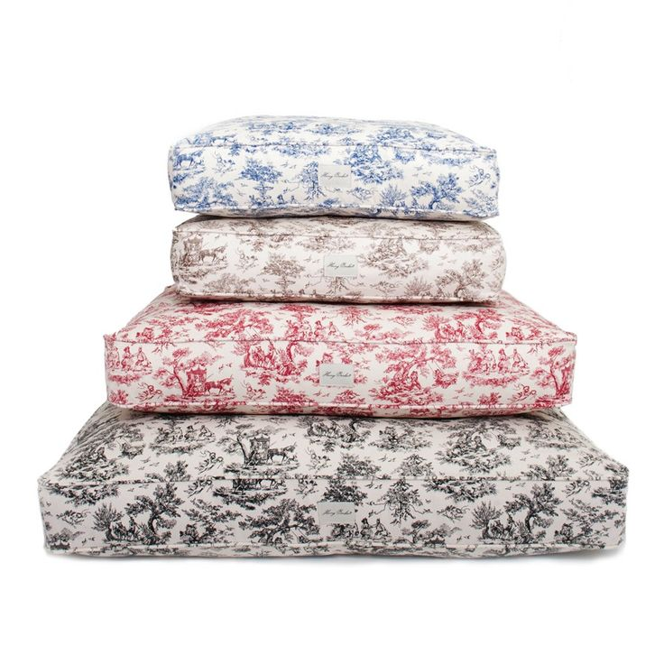 "Whimsical dog toile, exclusive to Harry Barker, is printed on machine washable cotton canvas for these durable and stylish dog beds. Our toile dog beds are sustainably crafted with earth-friendly dyes and stuffed with eco-friendly fiberfill made from recycled plastic bottles. Smart and elegant. Small Dog Bed 20"" x 26"" x 5"" Medium Dog Bed 29"" x 36"" x 5"" Large Dog Bed 36"" x 44"" x 5"" $0.00"