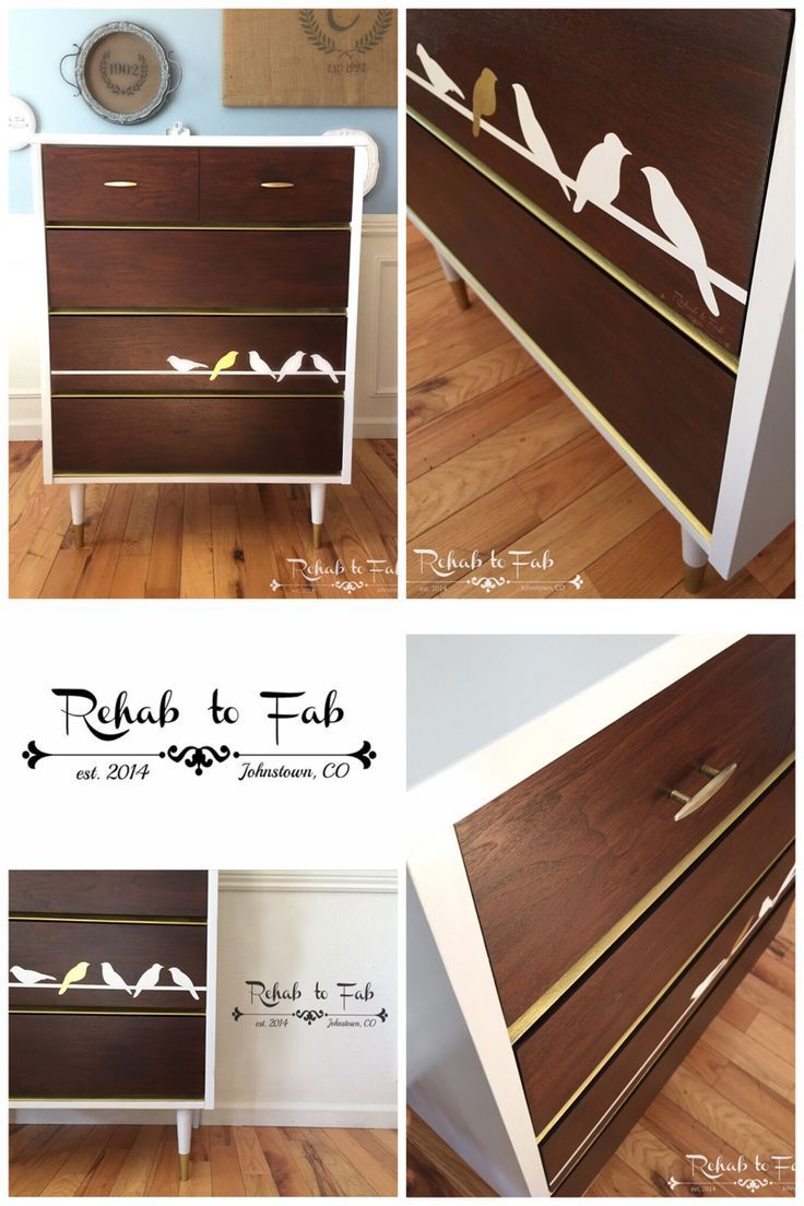 mid century modern furniture restoration. Birds On A Wire Mid Century Modern Chest Of Drawers Done By Rehab To Fab. FurnitureMidcentury ModernRestoring Furniture Restoration