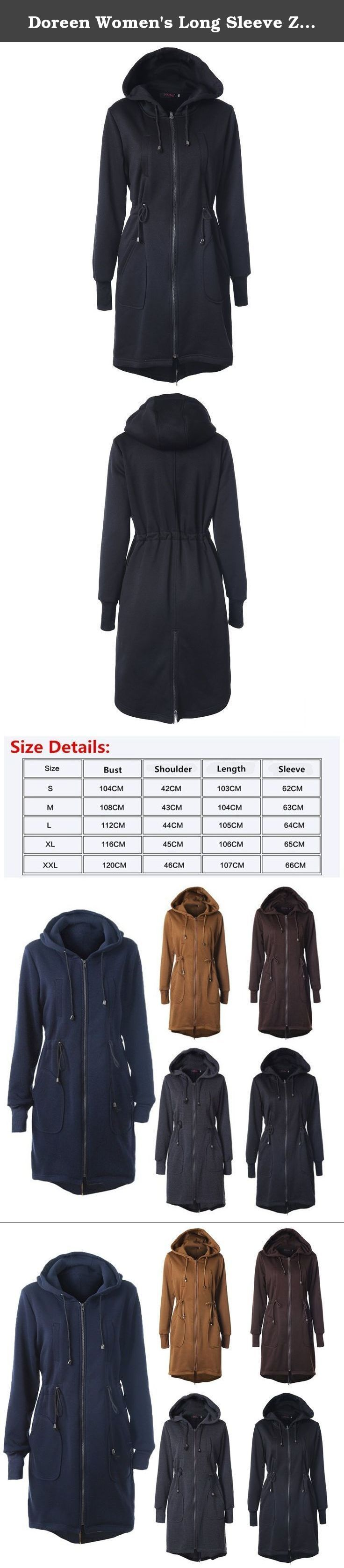 Doreen Women's Long Sleeve Zip Up Long Sweatshirt Tunic Hooded Hoodies Jacket Coat Black Size XXL. Ladies Fashion Zip up Hoodies Slim Fit Sweatshirt Jacket Coat with Pockets. Soft and Warm. You will Every Moment Comfortable Feeling. It's perfect to pair with your favorite skinny jeans or leggings for a casual everyday. Package Content: 1 x Loose Pullover Sweater Material: Fleece cloth 50% cotton / 50% polyester Item Type: Fashion Hoodies & Sweatshirts Gender: Women Clothing Length…