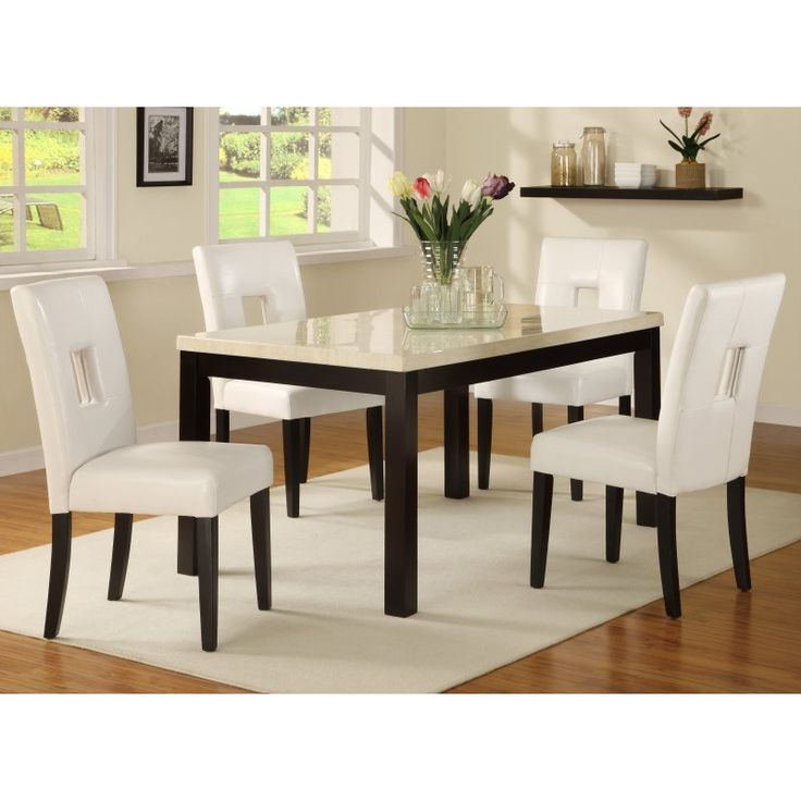 Homelegance Archibald 5 Piece White Dining Set   60 In.   HME2118