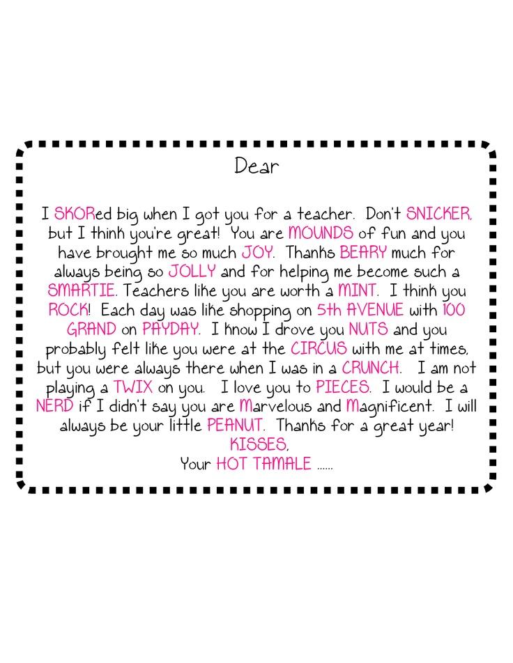 Candy Gram Template | teacher appreciation gift ideas ...