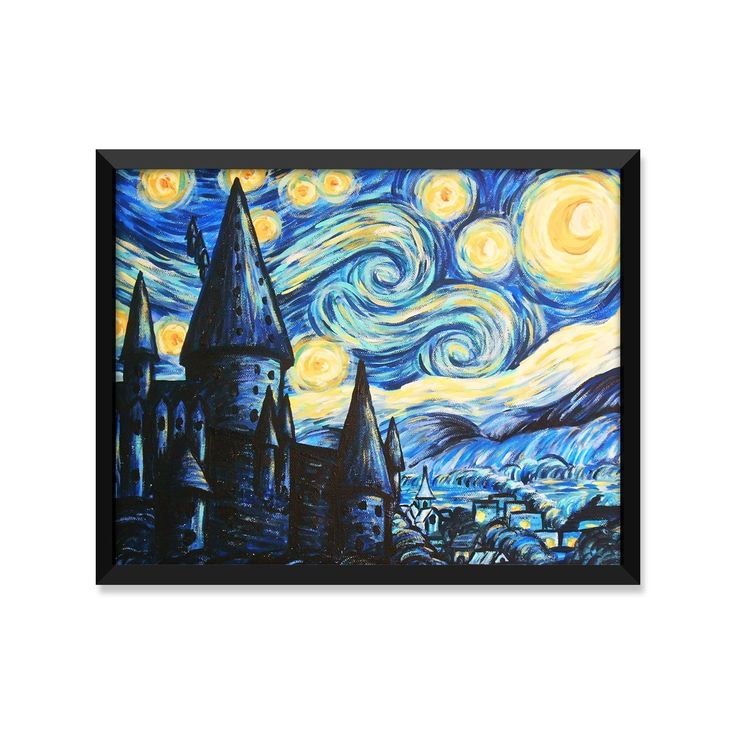British Castle Painting, Starry Night Painting, Style of Van Gogh, Inspired Fantasy Poster, Minimalist Poster, Home Decor, College Dorm Room Decorations, Wall Art, Art Print. mid century modern decor, college dorm room decor, dorm wall art, scandinavian art print, holiday gift, wedding gift, office decor, minimalist poster, inspirational quotes ITEM DETAILS --------------------------- This listing is for a print only. The frame is not included. PAPER --------------------------- Artwork is...