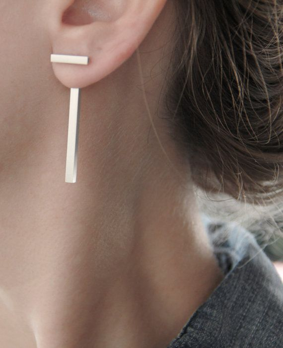"Silver Ear Jackets Single/Pair - Square Tube ""T"" Geometric Sterling Silver Bar Earrings - Double Front Back Earrings - High Fashion Jewelry"