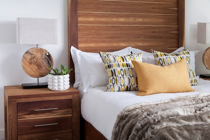 #bed #base #headboard in #kiaat wood with 800mm wide #pedestals and bedside tables all available from woodenways country wide