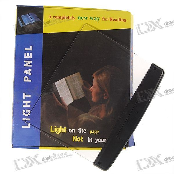 "Page Background LED Reading Light Panel (3*AAA). "" Novelty design: the entire transparent panel lights up - Offers wide area flood/spread lighting instead of traditional book lights that outputs spot/focus lights - Helps reduce strains on eyes - Simply slide the light panel behind the current page you are reading and the page will be """"backlighted"""" - Powered by 3 x 1.2V/1.5V AAA batteries"". Tags: #Lights #Lighting #Flashlights #LED #Flashlights #AAA #Flashlights"