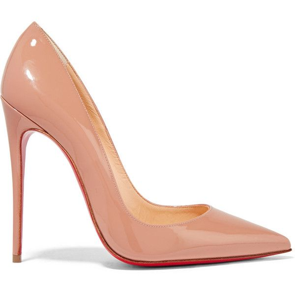 Christian Louboutin So Kate 120 patent-leather pumps (€610) ❤ liked on Polyvore featuring shoes, pumps, beige, beige patent pumps, pointed toe stilettos, pointed toe high heel pumps, red sole pumps and beige patent leather pumps