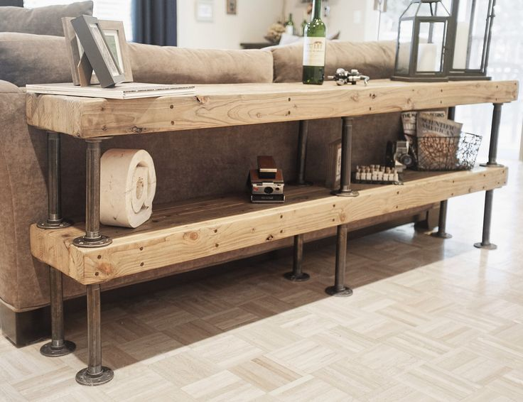 Portland Furniture - Galvanized Pipe and Salvaged Butcher Block - Modern Sofa Table by BitandBolt on Etsy https://www.etsy.com/listing/234967437/portland-furniture-galvanized-pipe-and
