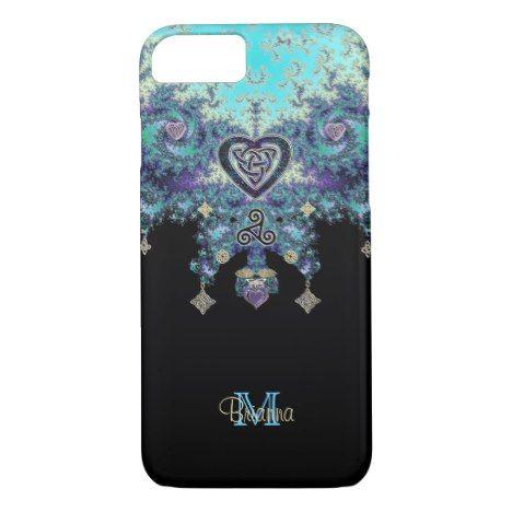 Celtic Heart Fractal Design iPhone 7 Case #fractal #pattern #iphone #protective #cases
