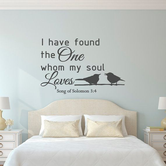 Love Wall Decal Quote Song Of Solomon 3:4 Bible Verse Scripture Wall Decal  Family Wall Art Bedroom Living Room Wedding Gift Home Decor Q146