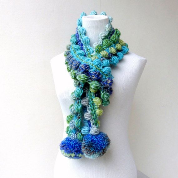 Blue Scarf Pompom Scarf Crochet Green Scarf Multicolor Unique Scarf colorful Winter Scarf