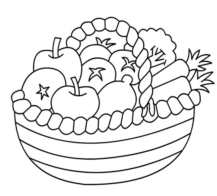 Basket Of Fruits And Vegetables Coloring