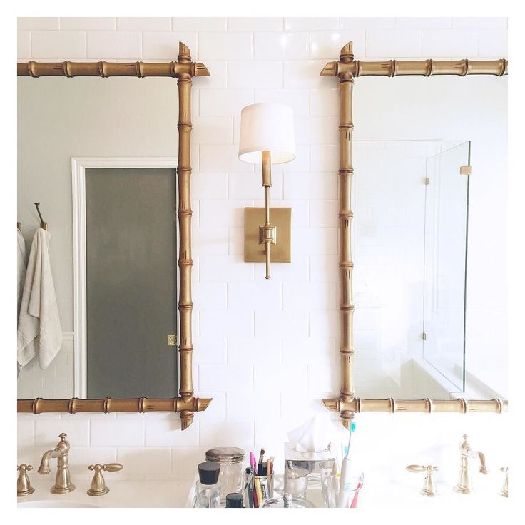 My sweet husband hung mirrors in our master bath this morning and I'd be lying if I didn't say I was . #whitneyeremodels (The mirrors were a Craigslist find!)