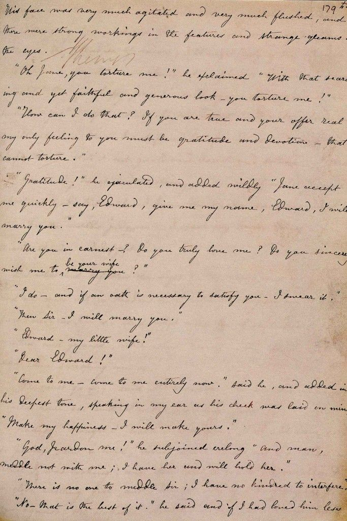 Charlotte Bronte's handwriting. Manuscript of JANE EYRE.