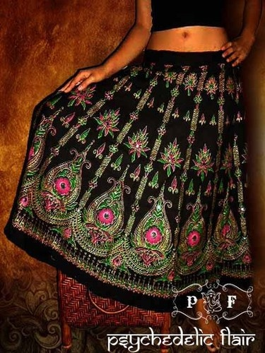 Indian Cotton Skirt Black Bead Casual Boho Hippie Ethnic Gypsy PFS1680 Sz XS s M | eBay